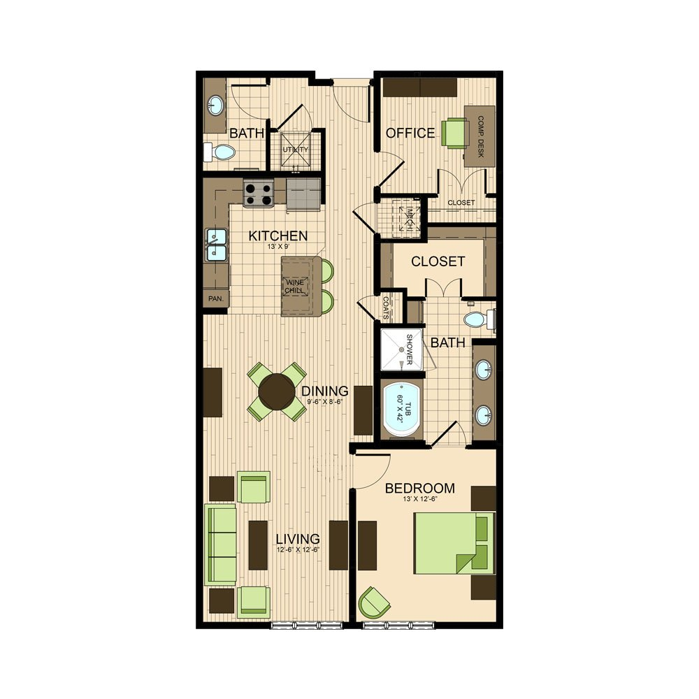 floor plan | The Susanne Museum district apartments