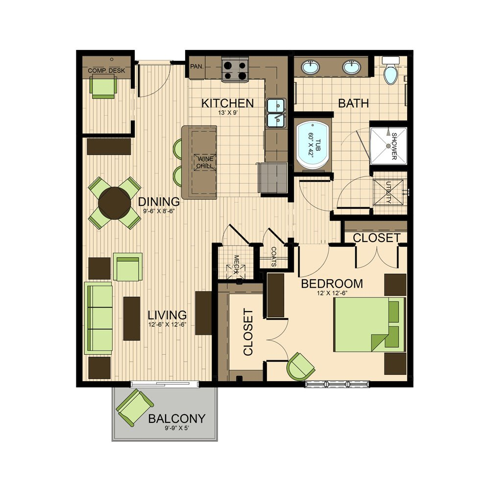 floor plan | The Susanne Luxury Apartments Near Museum District