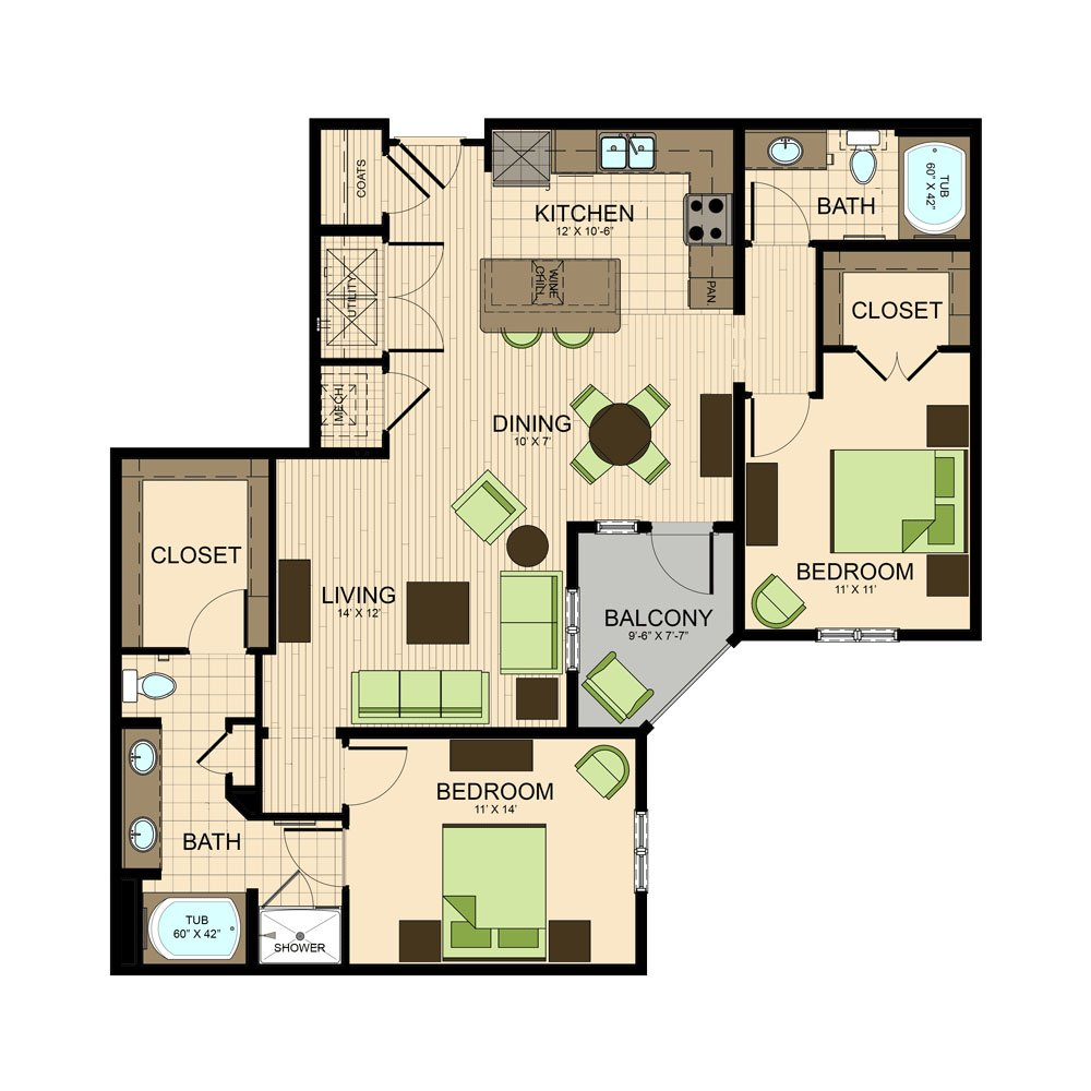 floor plan | The Susanne Apartments in Montrose