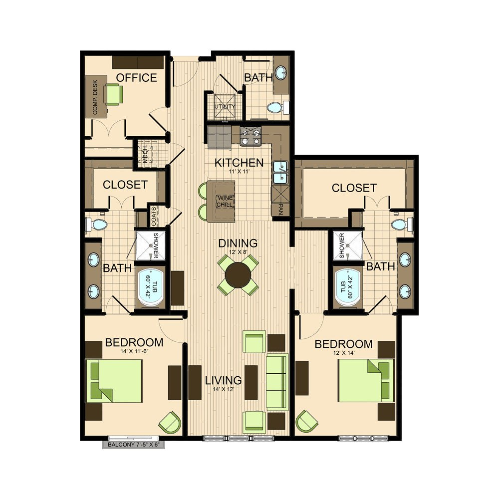floor plan | The Susanne Texas medical center apartments